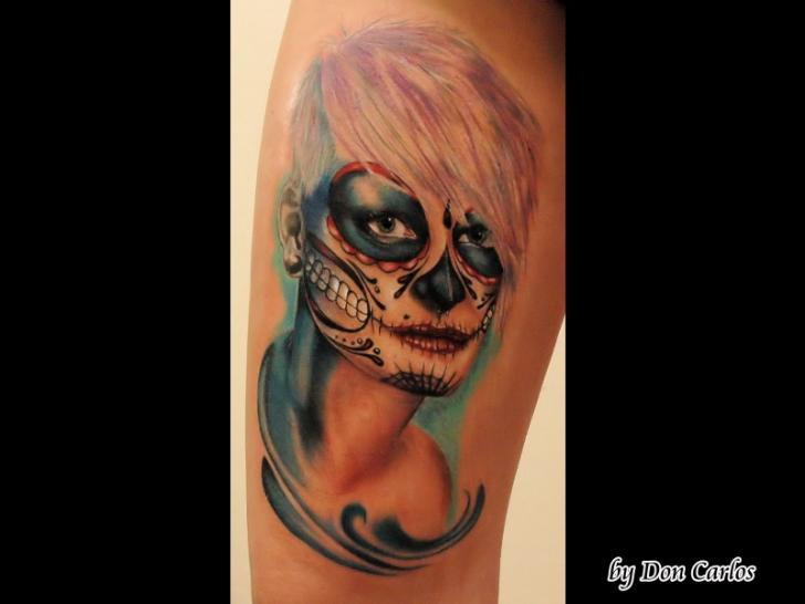 Fantasie Mexikanischer Totenkopf Tattoo von Baltic Tattoo