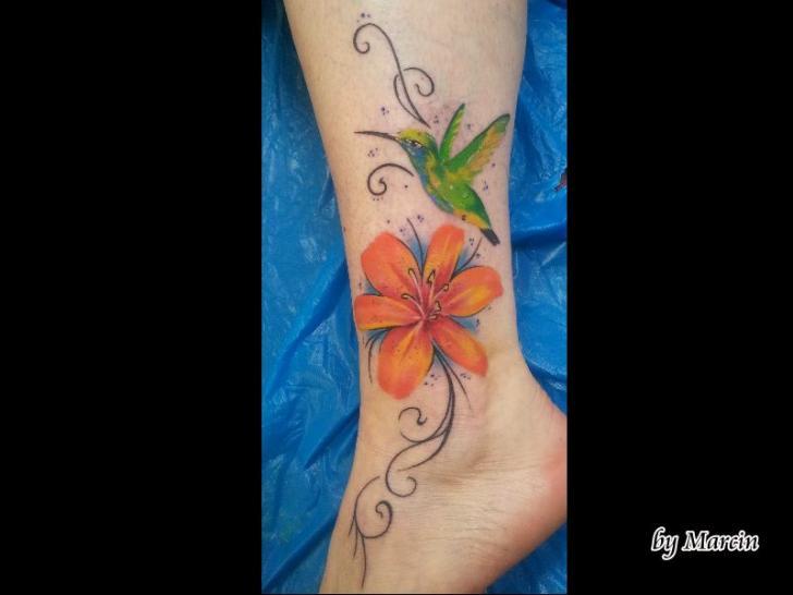 Foot Flower Tattoo by Baltic Tattoo