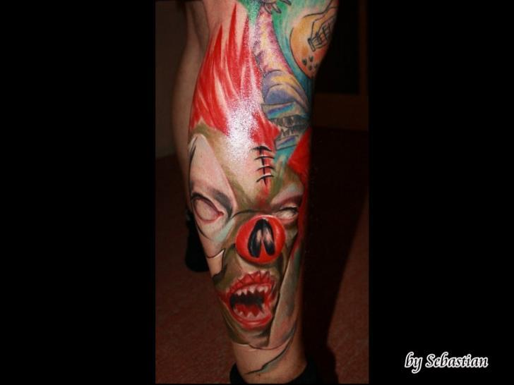Fantasy Leg Clown Tattoo by Baltic Tattoo