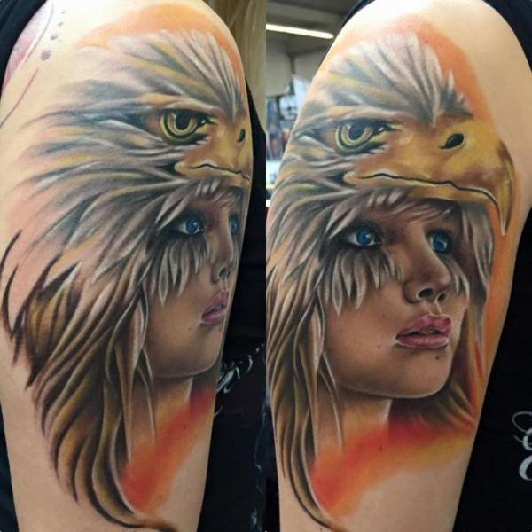 Shoulder Eagle Woman Tattoo by Baltic Tattoo