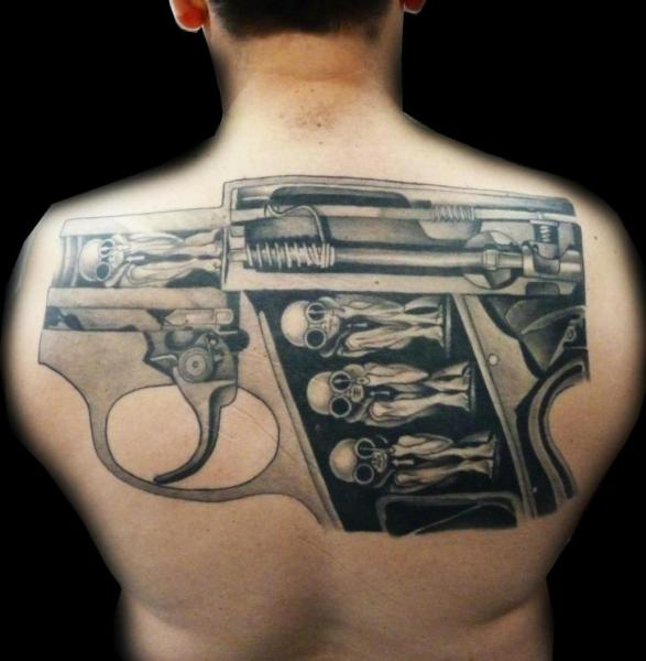 Fantasy Back Gun Tattoo by Medusa Tattoo