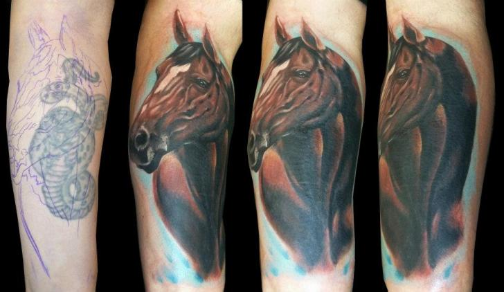 Arm Horse Cover-up Tattoo by Medusa Tattoo