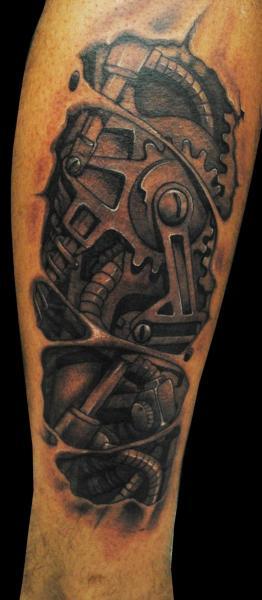 Tatuaggio Biomeccanici Gamba di Medusa Tattoo