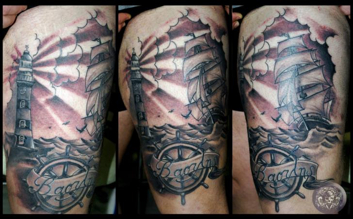 Realistic Lighthouse Rudder Thigh Tattoo by Medusa Tattoo