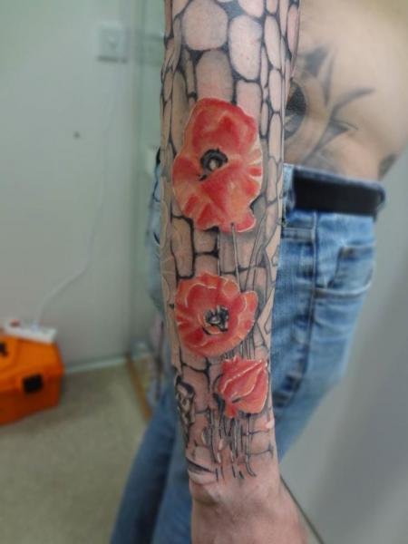 Arm Flower Tattoo by Tattoo Stingray