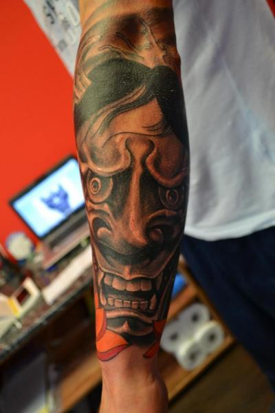 Arm Japanese Demon Tattoo by Upstream Tattoo