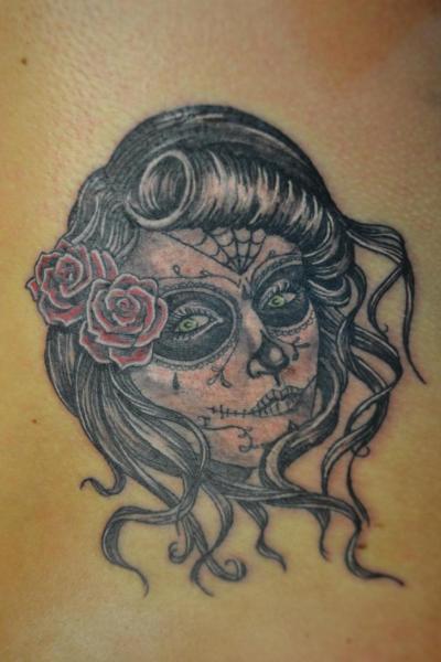 tatouage cr ne mexicain par upstream tattoo. Black Bedroom Furniture Sets. Home Design Ideas