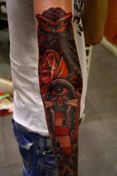 Arm Lighthouse Old School Eye Owl Tattoo by All Star Ink Tattoos