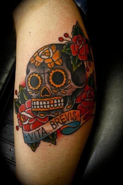 Arm Old School Skull Tattoo by All Star Ink Tattoos