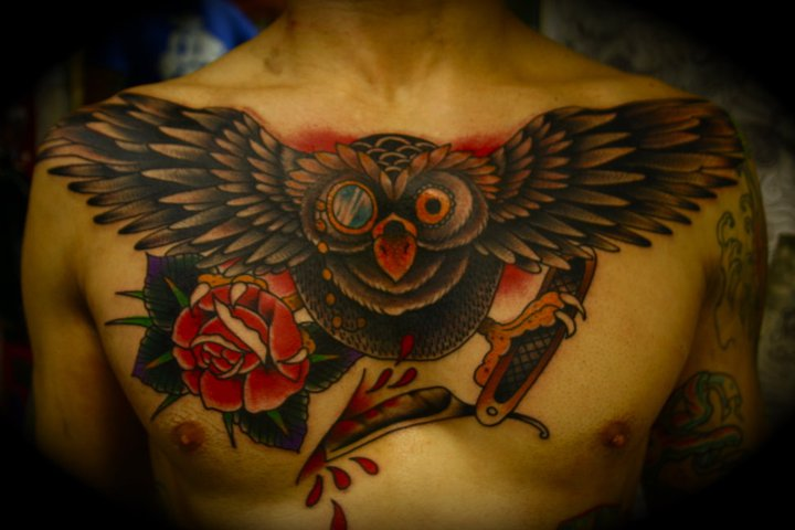 Chest Old School Flower Tattoo by All Star Ink Tattoos