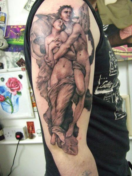 Shoulder Realistic Angel Tattoo by Tattoo Zoo