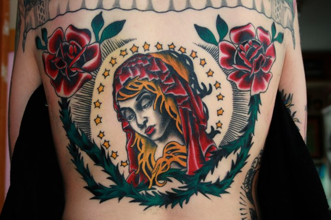 Old School Flower Back Religious Tattoo by Ace Of Sword Tattoo