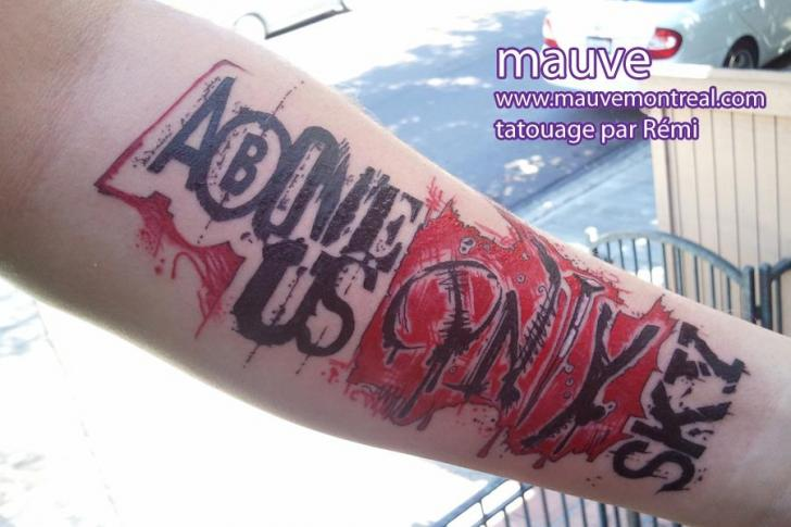 Arm Lettering Fonts Tattoo by Mauve Montreal