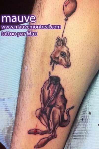 Fantasie Bein Känguruh Tattoo von Mauve Montreal
