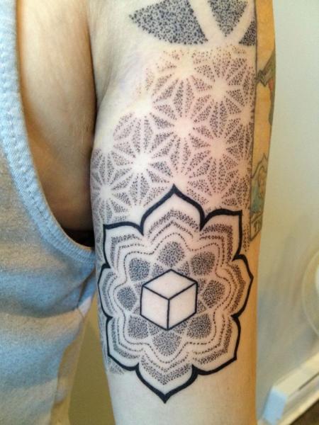 Arm Dotwork Geometric Tattoo by Rainfire Tattoo