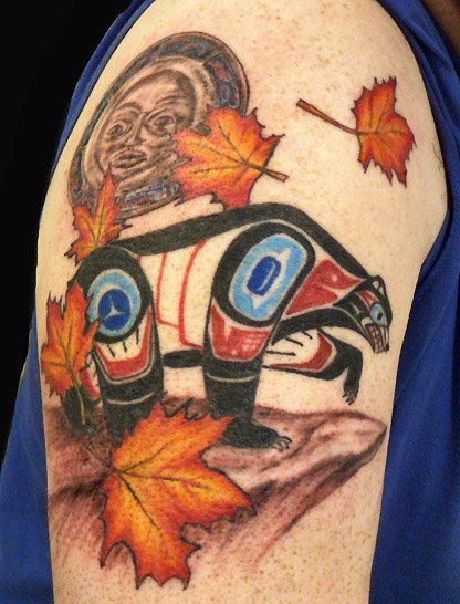 Shoulder Bear Maya Leaf Tattoo by Rainfire Tattoo