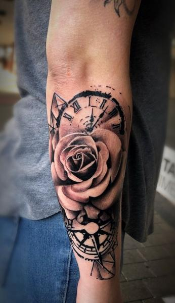 Arm Clock Flower Tattoo by Bloody Ink