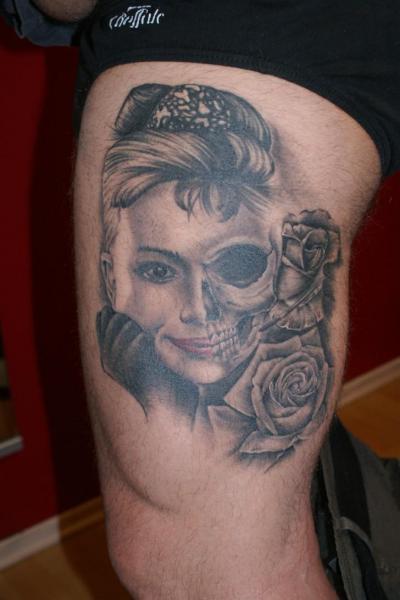 Leg Mexican Skull Tattoo by Bloody Ink