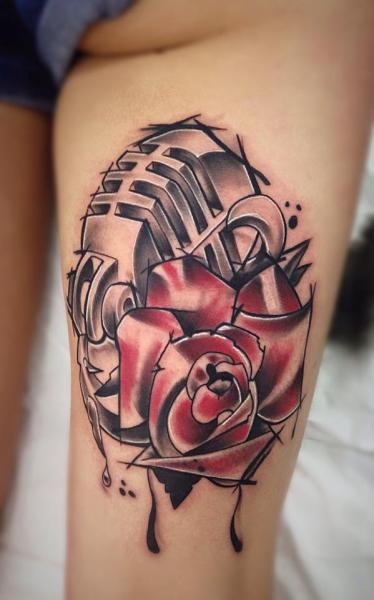 Leg Flower Microphone Tattoo by Bloody Ink