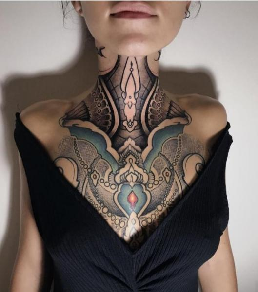Neck Breast Decoration Tattoo by Bloody Ink