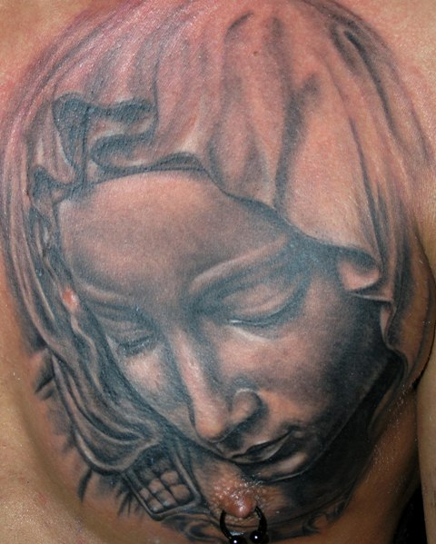 Chest Madonna Tattoo By Bloody Ink