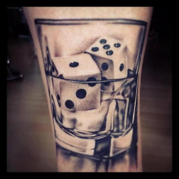 Realistic Glass Dice Tattoo by Bloody Ink