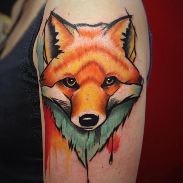Shoulder Fox Tattoo by Bloody Ink