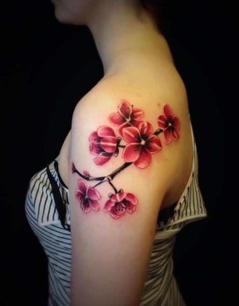 Shoulder Realistic Flower Tattoo by Bloody Ink