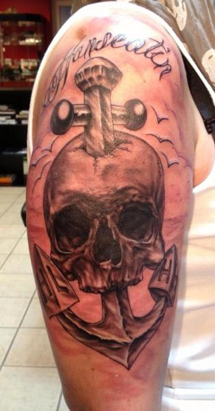 Shoulder Skull Anchor Tattoo by Bloody Ink