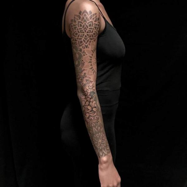 Dotwork Sleeve Mandala Decoration Tattoo by Bloody Ink