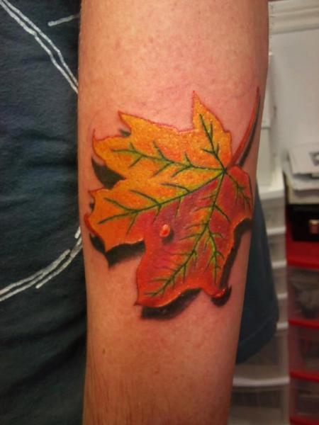Arm Leaf 3d Tattoo by Shogun Tats