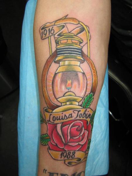 Arm New School Lamp Tattoo by Shogun Tats
