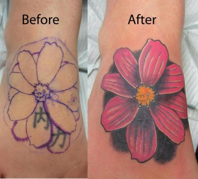 Realistic Flower Cover-up Tattoo by Shogun Tats