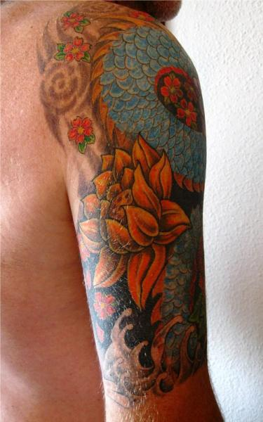 Shoulder Flower Japanese Tattoo by Abstract Tattoos