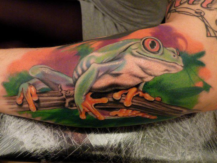 Arm Realistic Frog Tattoo by Blood for Blood Tattoo