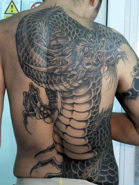 Fantasy Back Dragon Tattoo by Blood for Blood Tattoo