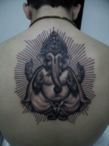 Back Religious Ganesh Tattoo by Blood for Blood Tattoo