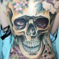 Flower Skull Back tattoo by Blood for Blood Tattoo