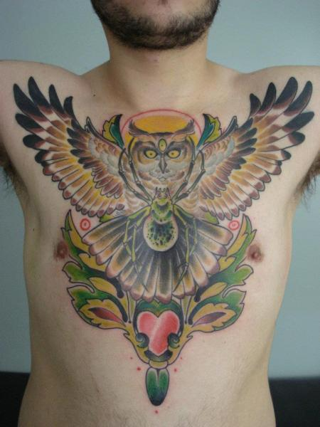 New School Chest Owl Spider Tattoo By Blood For Blood Tattoo