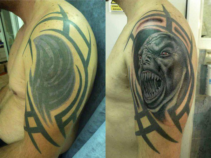 Shoulder Monster Cover-up Tattoo by Blood for Blood Tattoo