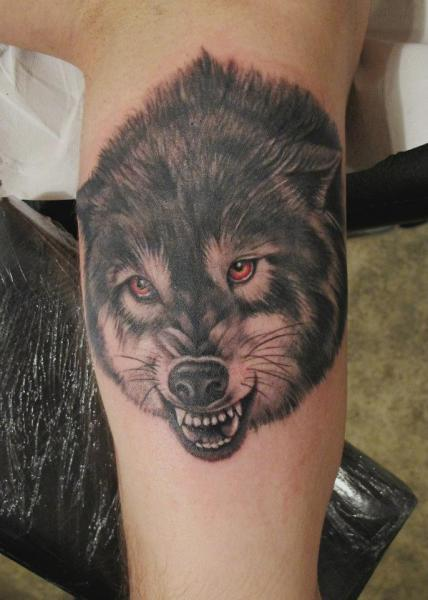 Realistic Leg Wolf Tattoo by Blood for Blood Tattoo