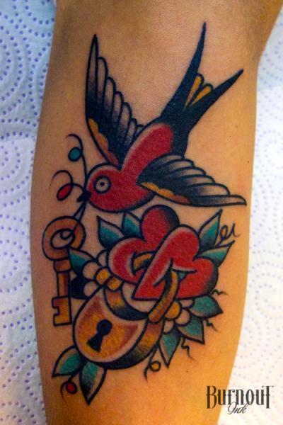 Arm Old School Bird Tattoo by Burnout Ink