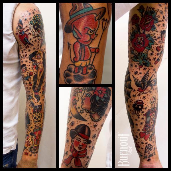 Arm Old School Sleeve Tattoo von Burnout Ink