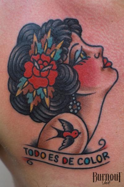 Old School Women Tattoo by Burnout Ink