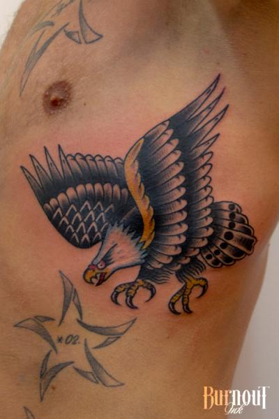 Old School Side Eagle Tattoo by Burnout Ink