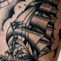 Galleon Compass Thigh tattoo by Burnout Ink