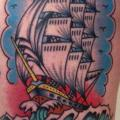 Galleon Pirate Thigh tattoo by Burnout Ink