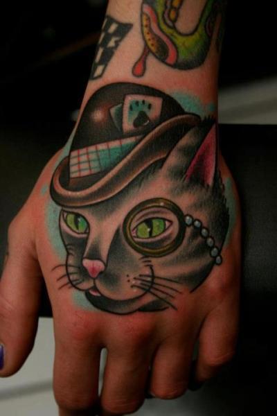 Fantasy New School Hand Cat Tattoo by Carnivale Tattoo