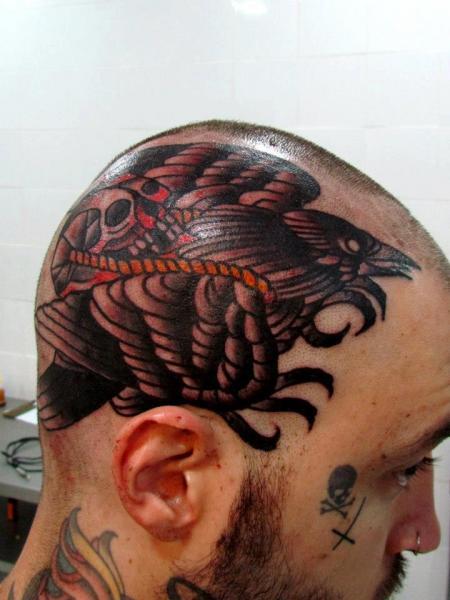 Old School Head Crow Tattoo by Carnivale Tattoo