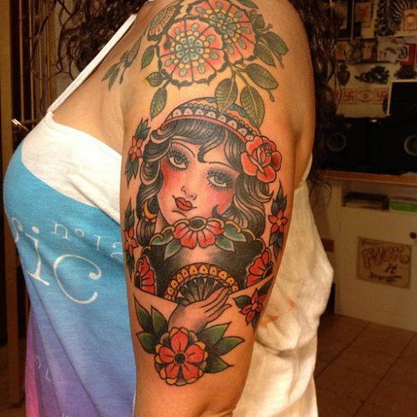 Shoulder Old School Flower Gypsy Tattoo by Carnivale Tattoo